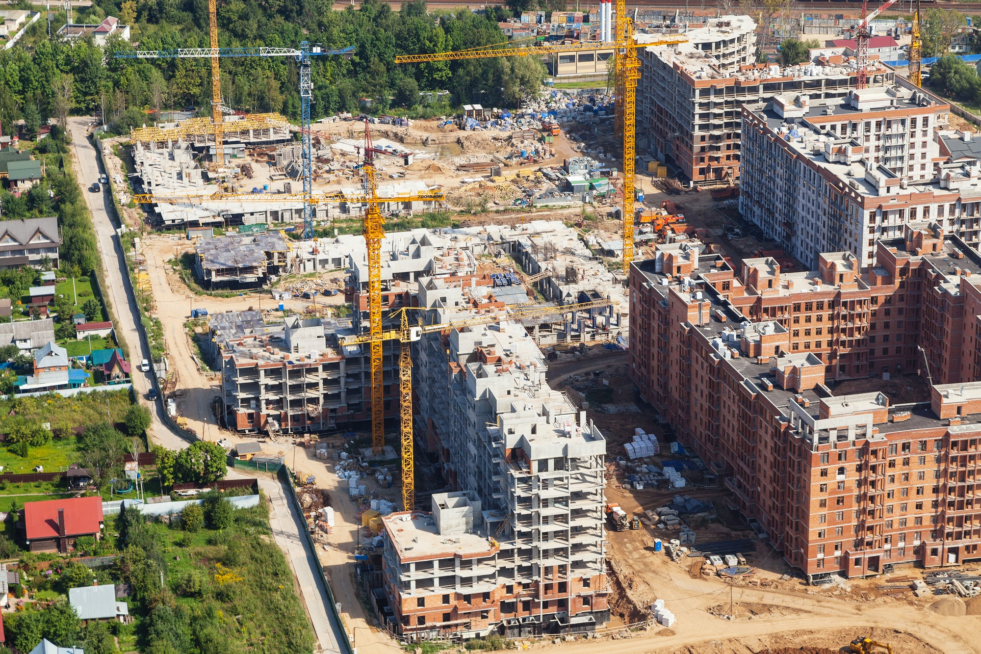 above view of construction area